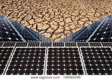 Photo Collage Of Solar Panels Against The Drought Land Background - Concept Of Sustainable Resources