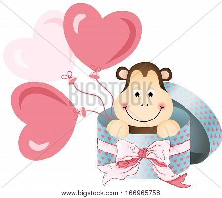 Scalable vectorial image representing a monkey in round gift box with bow ribbon and balloons, isolated on white.