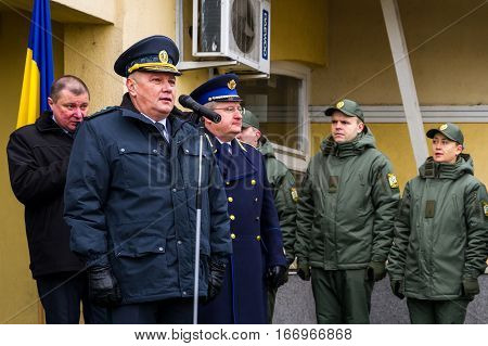 Zahony Hungary - January 25 2017: Head of the State Borderguard Service of Ukraine colonel general Viktor Nazarenko (L) and the deputy police chief - chief of law enforcement of Hungary major general Zsolt Halmosi (R) welcomes the participants of opening