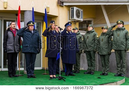 Zahony Hungary - January 25 2017: Head of the State Borderguard Service of Ukraine colonel general Viktor Nazarenko (L2) and the deputy police chief - chief of law enforcement of Hungary major general Zsolt Halmosi (R5) during the opening of the first joi