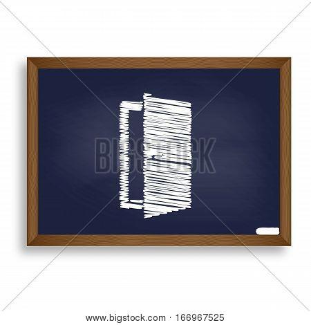 Door Sign Illustration. White Chalk Icon On Blue School Board Wi