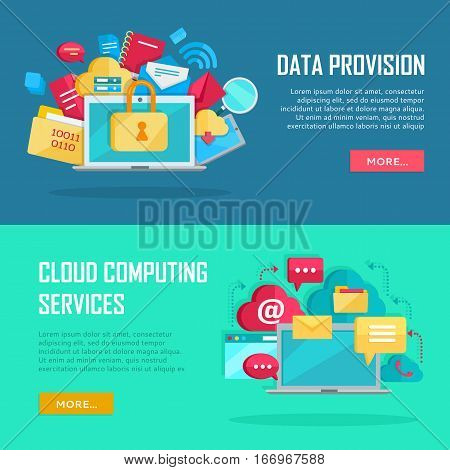 Data provision and cloud computing services banners. Networking communication and data icons near laptop. Data protection, online cloud storage, security, global storage, privacy, online communication