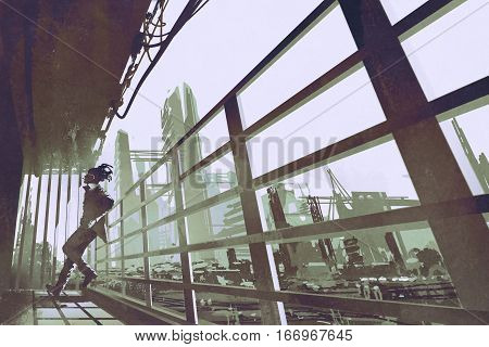 the man standing in a building industry construction, illustration painting