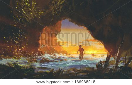 the man walking in the sea cave at sunset, illustration painting