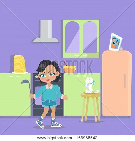 Little girl cooks dinner at home. Young lady with soup ladle at the kitchen. Adorable lady feeds cat with spoon. Girl cooks pancakes in flat style design. Surprise at breakfast. Vector illustration
