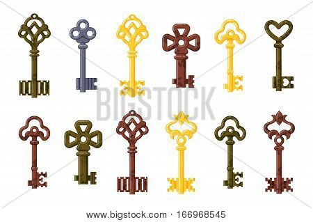 Vintage or antique door key isolated vector illustration. Access household tool. Retro metal security house protection decorative skeleton. Decorative ornate secret.