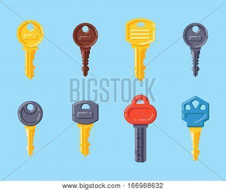 Door security key isolated vector illustration. Access household tool. Retro metal padlock house protection decorative skeleton. Decorative ornate secret.