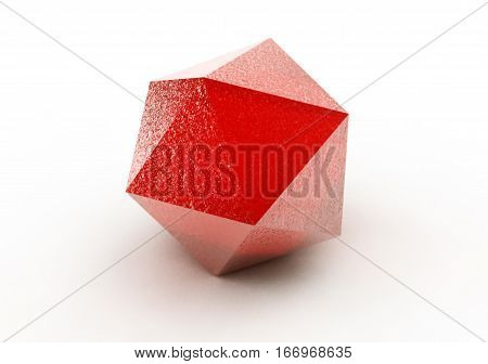 Ruby Round Over White Background. 3D Illustration.
