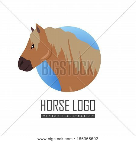 Red pony logo vector. Flat design. Domestic animal. Country inhabitants concept. For farming, animal husbandry, horse sport illustrating. Agricultural species. Isolated on white background