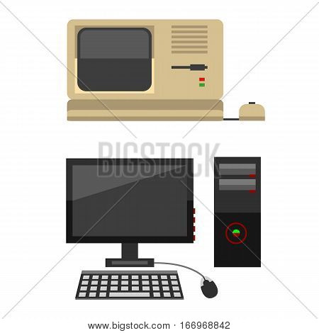 Computer technology vector evolution isolated display. Telecommunication equipment metal pc monitor frame modern office network. Electronic device space.