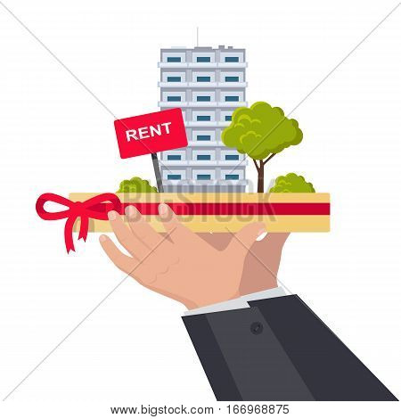 Rent concept vector. Flat design. Hands holding salver with city building, trees and rent sign on it. Illustration for real estate company advertising, housing concepts. Isolated on white.