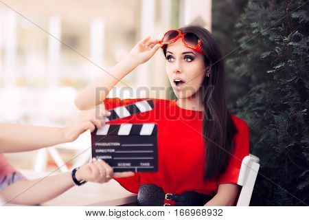 Surprised Actress with Oversized Sun Glasses Shooting Movie Scene