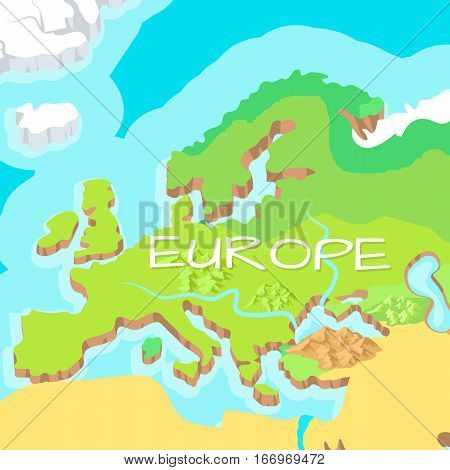 Europe mainland cartoon relief map with mountains, climate zones, rivers, seas and island flat vector illustration. Topographic or physical atlas. Geographic concept for children book illustrating