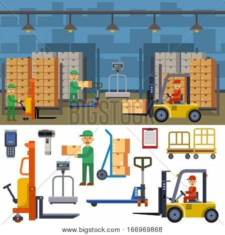 Warehouse banner set with shipping and delivery flat elements isolated vector illustration. Storage business industry container merchandise transport.
