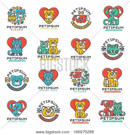 Pet badge vector graphic sticker set. Domestic insignia silhouette veterinary animal element. Collection service dog and cat vintage cute logotype creative shape.