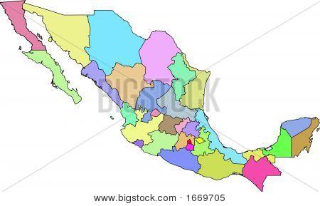 Mexico Vector Map Administrative Boundaries.Eps