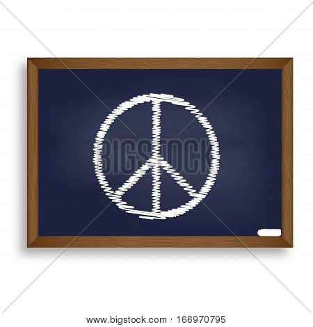 Peace Sign Illustration. White Chalk Icon On Blue School Board W