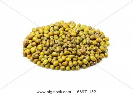 Raw mung bean isolated on a white background.