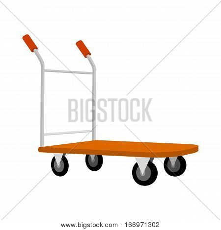 Cargo cart icon. Warehouse and forklift truck, truck and jack, cargo cart, delivery and lift, equipment industry, industrial loader illustration. Delivery and shipping cargo equipment