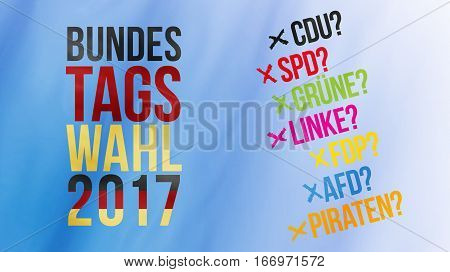 German Words For Federal Election 2017 In Black Red Gold And German Parties