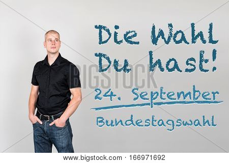 Man With German Appeal To Go Vote At German Federal Election 2017