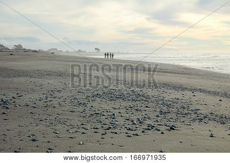 An afternoon stroll on the Hokitika Beach on the West Coast of the South Island of New Zealand