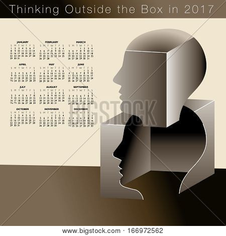 A 2017 calendar with a man thinking outside the box, ideal for any business