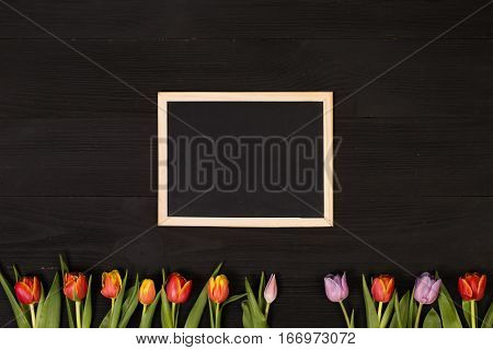 Lilac and red tulips and banner space for text in the black wooden table. Banner template layout mockup for Woman Day, Valentines Day and Teacher's Day. Photo for posts, blogs, advertising and news.