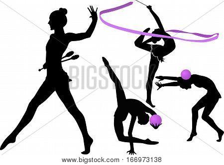 girl gymnast athlete isolated on white background. sportswoman gymnasts