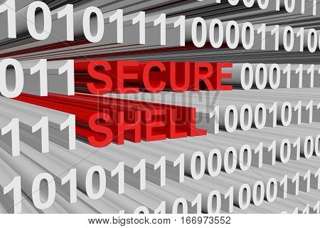 Secure shell is presented in the form of binary code 3d illustration