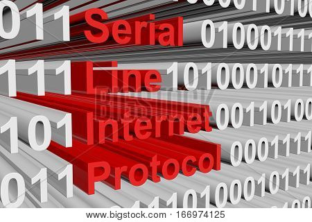 Serial Line Internet Protocol in the form of binary code, 3D illustration