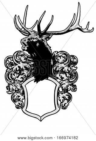 deer crest sign  shield ornament animals illustration