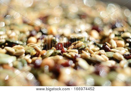 Extremal closeup of Georgian traditional New Year holiday food - Kozinaki (nuts and honey bar)selective focus
