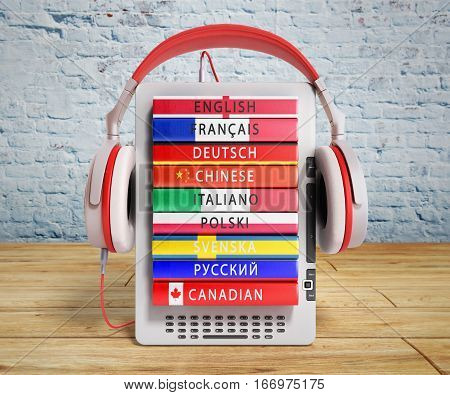 E-boock Audio Learning Languages 3D Render On Wooden Flor And Break Wall