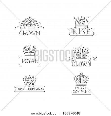 Crown logo set. Lux signs in trendy outline style. Vector illustration for hotel, restaurant, boutique, invitation, jewellery, etc.