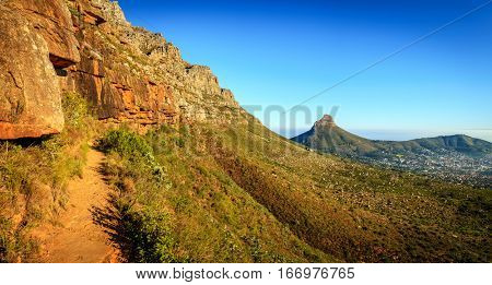 Panoramic view from Platteklip Gorge trail at Table Mountain in Cape Town, South Africa