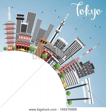 Tokyo Skyline with Gray Buildings, Blue Sky and Copy Space. Business Travel and Tourism Concept with Modern Architecture. Image for Presentation Banner Placard and Web Site.