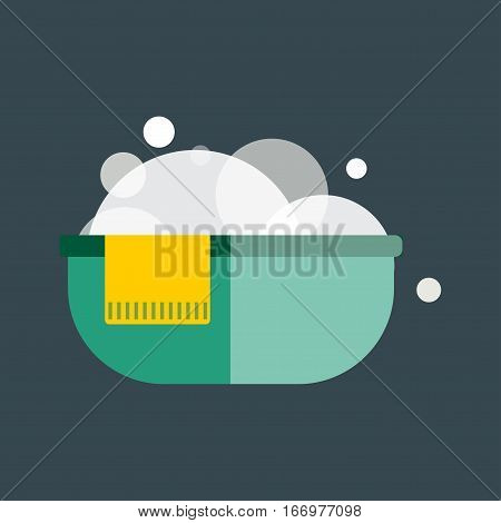 Plastic wash bowl isolated vector illustration. Water domestic kitchen laundering container. Household round plastic equipment bath cleaner.