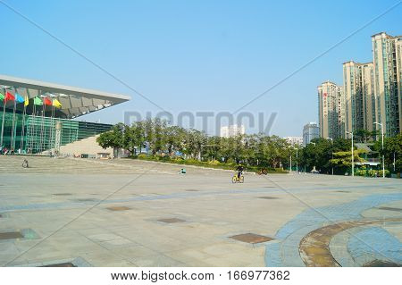Shenzhen, China: January 21st, Baoan, Sports Center Plaza, before the Spring Festival, because many people return home for the new year, there are fewer people here