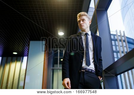 Classy businessman in formal suit standing by window