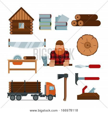 Lumberjack cartoon tools icons vector illustration. Timber man isolated on white background. Wood material nature industry design. Cutting deforestation elements equipment