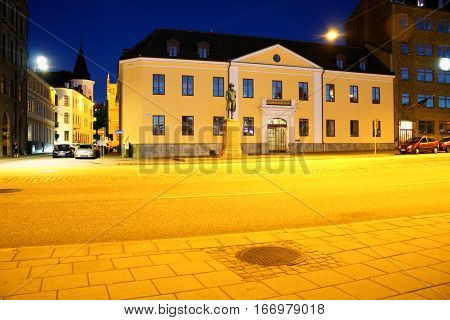 Malmo. Sweden: aug 25. 2016 - Frans Suell monument in in the old town of Malmo Sweden on night scene