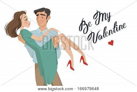 Man holds girl in his arms. Lovers. Valentine's Day. Cartoon style. Boy and girl. Date. A declaration of love. offer to go get married. romance. feelings, a pair of lovers