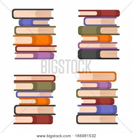 Stacks of Colorful Books Set. Vector illustration