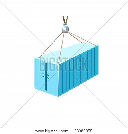 Blue Container with Crane Isolated on White, Container Hanging on Crane Hook