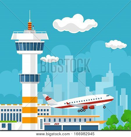 Airplane Takes Off from the Airport ,Control Tower and Airplane on the Background of the City, Travel and Tourism Concept, Air Travel and Transportation