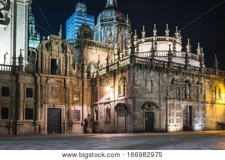 Side view at night of the Santiago de Compostela cathedral