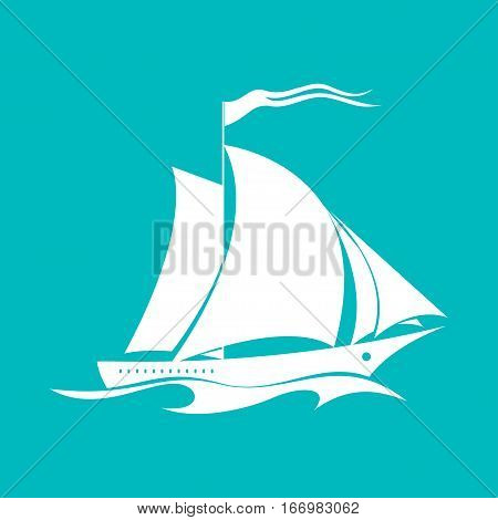 Yacht on the Waves, Sailing Vessel Isolated on Green, Travel Concept