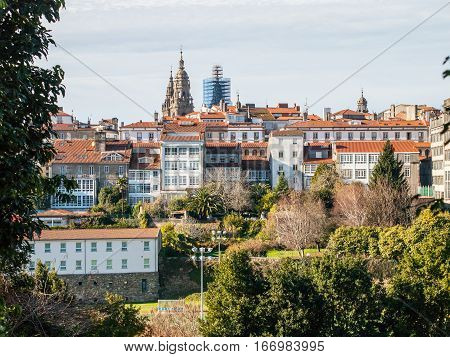 View of Santiago de Compostela Skyline, Spain
