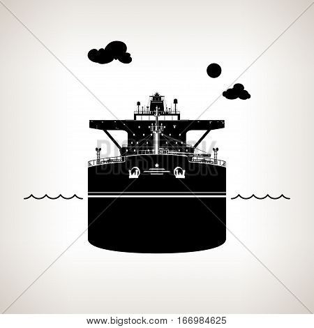 Front View of the Vessel, Oil Tanker on Light Background ,International Freight Transportation, Silhouette Vessel for Transportation of Goods